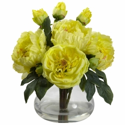 "14.5"" Artificial Silk Flowers Peony and Rose Arrangement in Vase"