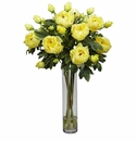 "32"" Peony in Cylinder Silk Flower Arrangement - Yellow"