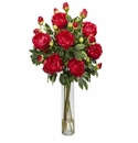 "32"" Peony in Cylinder Silk Flower Arrangement - Red"