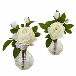 "11.5"" Silk Peony Flowers with Vase (Set of 2)"