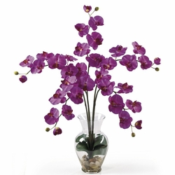 "31"" Phalaenopsis Liquid Illusion Silk Flower Arrangement - Orchid Color"