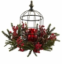 "15"" Artificial Pine Berry Birdhouse Candelabrum Centerpiece"