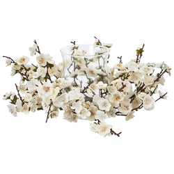 "6.5"" Plum Blossom Artificial Flower Arrangement with Candelabrum"