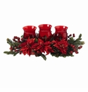 Poinsettia & Berry Triple Candleabrum