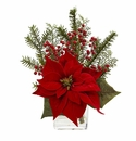"14"" Poinsettia Flower, Pine and Berries in Vase Artificial Arrangement"