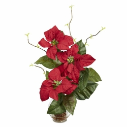 "20"" Poinsettia in Fluted Vase Silk Flower Arrangement - Red"
