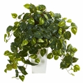 2' Pothos Artificial Plant in White Tower Vase