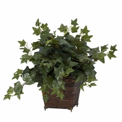 "17"" Puff Ivy with Coiled Rope Planter Silk Plant"