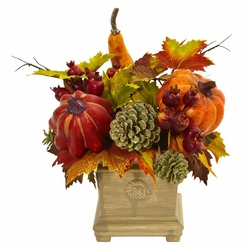"11"" Pumpkin, Gourd, Berry and Maple Leaf Artificial Arrangement - Fall"