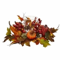 "8"" Pumpkin, Gourd, Berry and Maple Leaf Artificial Arrangement - Fall Candelabrum"