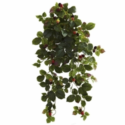 """32"""" Artificial Raspberry Hanging Bush with Berry (Set of 2) - Non Potted"""