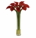 "27"" Red Calla Lily Artificial Flower Arrangement in Large Cylinder Vase"