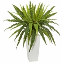 "32"" Rippled Birdsnest Artificial Plant on White Tower Planter"