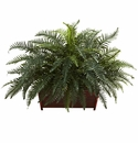 "29"" Artificial Large River Fern with Wood Planter"