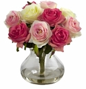 "11"" Silk Rose Artificial Flower Arrangement in Vase - Assorted Pastels"