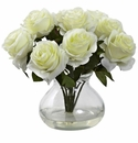 "11"" Silk Rose Artificial Flower Arrangement in Vase - White"