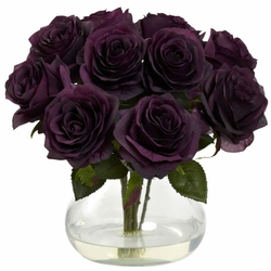 "11"" Silk Rose Artificial Flower Arrangement in Vase - Elegant Purple"