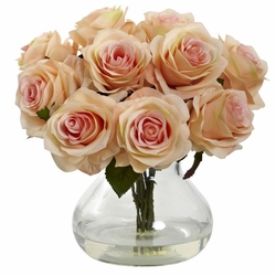 "11"" Silk Rose Artificial Flower Arrangement in Vase - Peach"