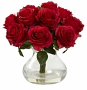 "11"" Silk Rose Artificial Flower Arrangement in Vase - Red"