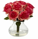 "11"" Silk Rose Artificial Flower Arrangement in Vase - Deep Pink"