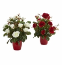 Rose Artificial Plant in Red Planter (Set of 2) -