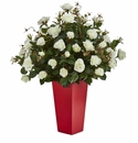 Rose Bush Artificial Plant in Red Planter -
