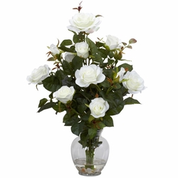 "22"" Rose Bush with Vase Silk Flower Arrangement - White"