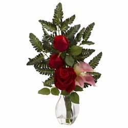 "21"" Red Rose & Pink Calla Silk Flower Arrangement"