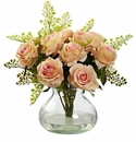 "14"" Rose & Maiden Hair Flower Arrangement in Vase - Peach"