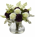 "14"" Rose & Maiden Hair Flower Arrangement in Vase - Purple/White"