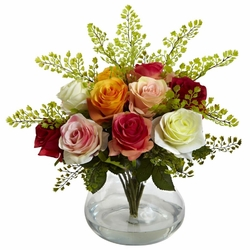"14"" Rose & Maiden Hair Arrangement in Glass Vase - Assorted Colors"