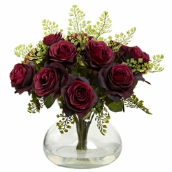 "14"" Rose & Maiden Hair Flower Arrangement in Vase - Burgundy"