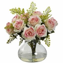 14 rose maiden hair flower arrangement in vase light pink 14 rose maiden hair flower arrangement in vase light pink mightylinksfo