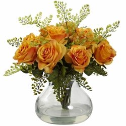 "14"" Rose & Maiden Hair Arrangement in Glass Vase - Orange/Yellow"