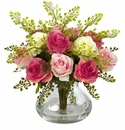 "14"" Rose & Maiden Hair Flower Arrangement in Vase - Assorted Pastels"