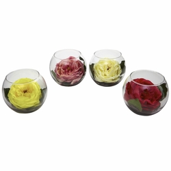 Rose With Bubble Vase, Set of 4