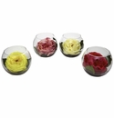 "4.75"" Silk Rose Assortment With Bubble Vase Set of 4"