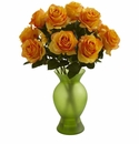 Roses w/Colored Glass Vase