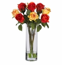 "16"" Silk Roses with Glass Vase Silk Flower Arrangement"