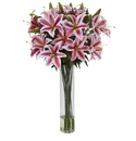"34"" Rubrum Lily in Large Cylinder Artificial Flower Arrangement"