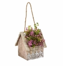 Sedum and Eucalyptus Artificial Plant in Birdhouse Hanging Basket -