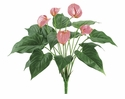 "Set of 12 - 17"" Artficial New Anthurium Flower Bushes w/5 Flowers & 12 Leaves"