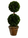 "Set of 2 - 18.5"" Preserved Boxwood Double Ball Topiaries"