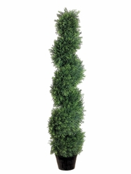 Set of 2 - 4' Artificial Cedar Spiral Topiary Trees