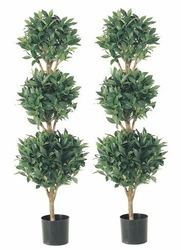 SET OF 2 - 4' Artificial Sweet Bay Triple Ball Silk Topiary Trees