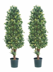 set of 2 - 5' silk ficus cone shaped artificial topiary trees - ball Artificial Topiary Trees