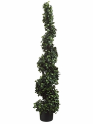 "Set of 2 - 60"" Citrus Leaf Spiral Silk Topiaries"