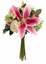 "Set of 4 - 12"" Artificial Casablanca Lily Spray with Silk Roses and Snowball Mixed Bouquet"