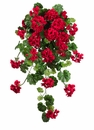"Set of 4 - 47"" Water-Resistant Artificial Geranium Hanging Flower Bush  (shown in red)"