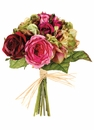 "Set of 6 - Artificial 10.5"" Silk Rose and Hydrangea Mixed Wedding Bouquet"